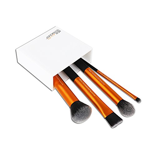 Real Techniques Flawless Base Brush Set With Ultra Plush Custom Cut Synthetic Bristles and Extended Aluminum Ferrules to Build Coverage, A Brush for Every Makeup Application Need
