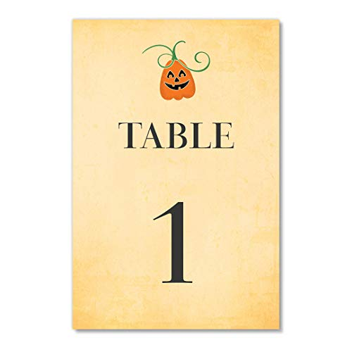 Autumn Pumpkin Table Numbers 25 Count Single Sided