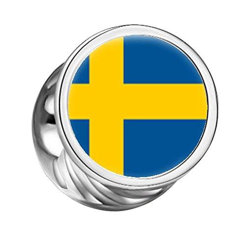 FERVENT LOVE Sweden Flag Cylindrical Photo Charm Both Sides, Bracelet Charm