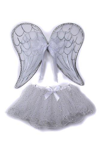 Silver Toddler Girl Angel Wings Tutu Costume Dress Up Set 2-5T