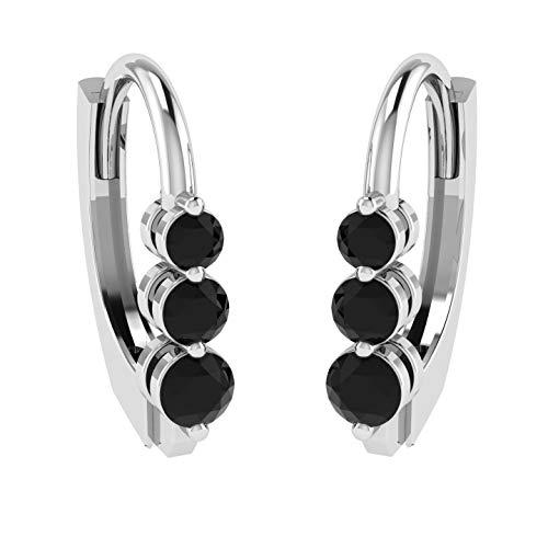 mond Hoop Earring in 10KT White Gold, 0.28 Carat I1 clarity, Black Color Diamond Earring for Women ()
