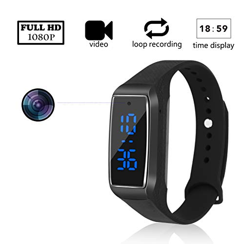 en Camera 1080P Full HD nanny cam Wearable portable sports camera bracelet camcorder Loop Recording Cameras for indoor or outdoor(not included sd card) ()