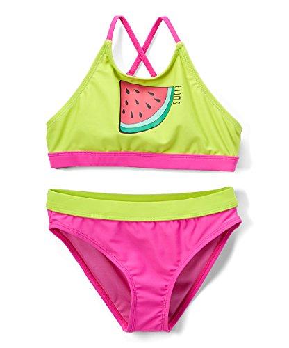 - Girls' Fashion Ruffle Bikini Swimsuit Set with UPF 50+ Sun Protection (AB-Sweet, 4/5)