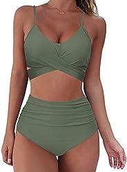 D/N Women's High Waisted Bikini Set Tie Knot High Rise Two Piece Swimsuits Bathing Suits Women Wrap Bikini