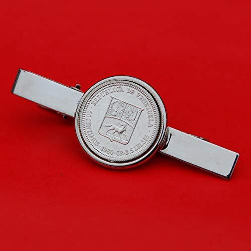 1960 Venezuela 50 Centimos 0.835 Silver BU Coin Silver Plated Tie Clip Bar Pin NEW - National Arms Cornucopias Horse Flags Olive Branch
