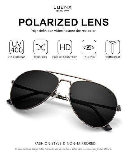 e7f9b43505 LUENX Aviator Sunglasses Polarized Men Women with Accessories Metal Frame  UV 400 60MM (18-