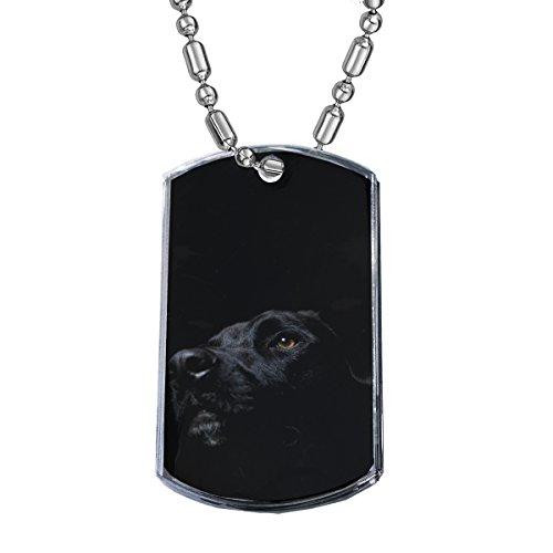 Sunshine Cases Black Lab Dog - Military Dog Tag Luggage Tag Key Chain Metal Chain Necklace