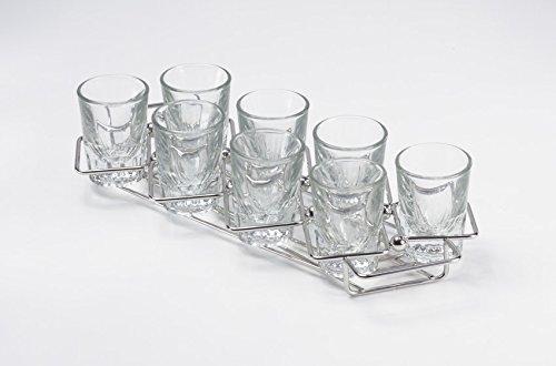 G.E.T. Enterprises 4-82018 11.75'' x 3.25'' Dessert Caddy, 1.25'' Clipper Mill, Stainless Steel (Glasses Sold Separately)