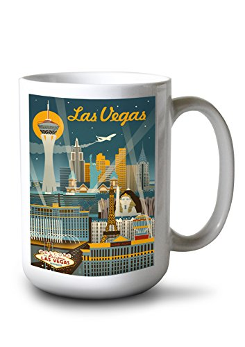 Las Vegas, Nevada - Retro Skyline (15oz White Ceramic Mug)