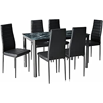 IDS Home 7 Piece Home Dining Kitchen Furniture Set with Faux Marble Glass  Top Metal Leg. Amazon com  Merax 7 piece Dining Set Glass Top Metal Table 6