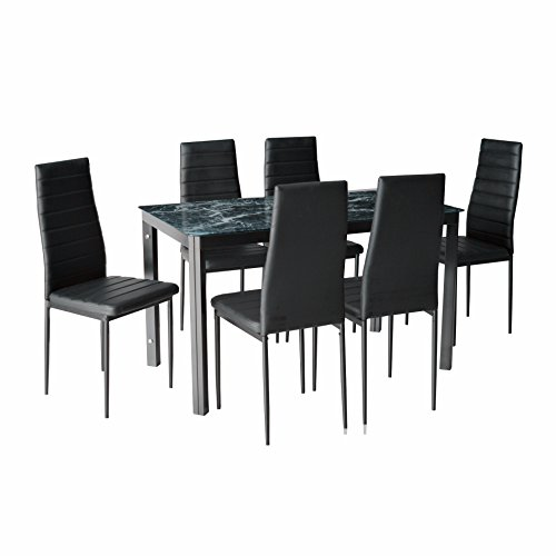 IDS Online MLM-17734 7 Pieces Home Dining Kitchen Furniture Set, with with Faux Marble Glass Top Metal Leg and Frame, Black, ()
