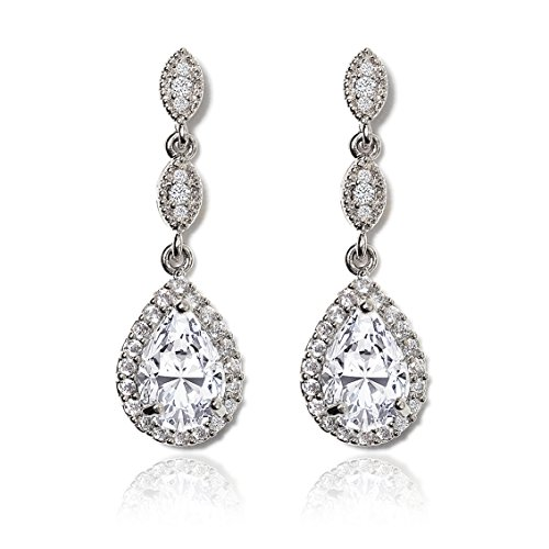 (AMY O Elegant Teardrop Cubic Zirconia Crystal Earrings in Silver, Gold, Rose)