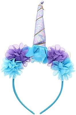 LUOEM Cuerdas de Cuerno de Unicornio Diadema de Flores Diadema de cumpleaños de Unicornio para Mujeres Diadema de cumpleaños de niñas bebé Decoración ...