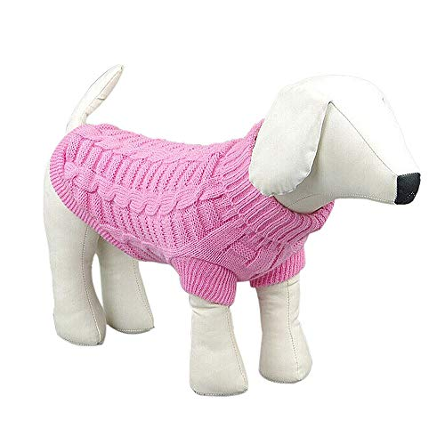 Gyoume Doggy Hoodie Sweater Cute Pet Small Dog Pullover Coats Autumn Outwears Knit Sweater Jumpers Pink