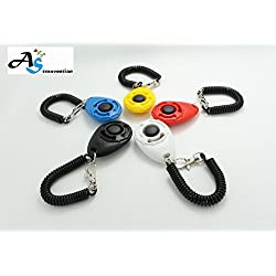 A&S Creavention Dog Training Pet Clicker Big Button clicker Keychain x 5pcs Mix Color Set