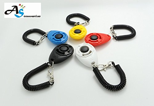 A&S Creavention Dog Training Pet Clicker Big Button clicker Keychain x 5pcs Mix Color Set by A&S Creavention