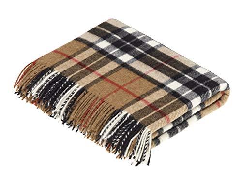- Moon Wool Plaid Throw Blanket, Merino Labmswool, Camel Thompson Tartan, Made in UK