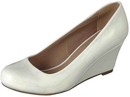 (Forever Link Women's DORIS-22 Patent Round Toe Wedge Pumps White 6.5 )