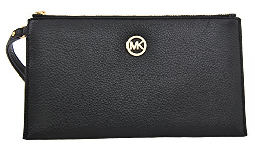 Michael Kors Fulton Large Zip Clutch Wristlet Wallet Black Leather by Michael Kors