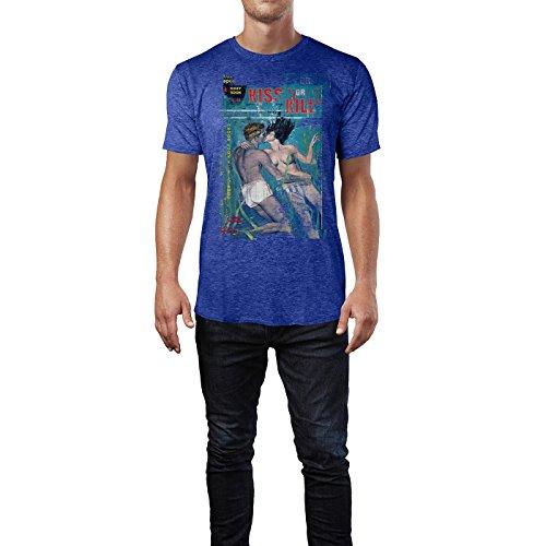 SINUS ART® Kiss or Kill Herren T-Shirts stilvolles blaues Cooles Fun Shirt mit tollen Aufdruck