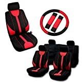 OCPTY Car Seat Cover, Stretchy Universal Seat Cushion W/Steering Wheel Cover Breathable Automotive Accessories Washable Polyester for Most Cars(Black/Red)