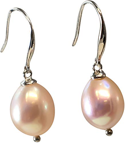 - HinsonGayle AAA Handpicked 9-9.5mm Pink Baroque Freshwater Cultured Pearl Dangle Earrings Silver