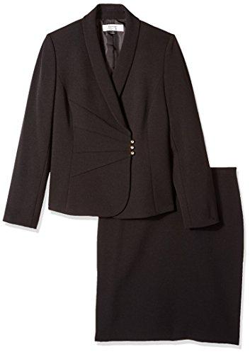 Tahari by Arthur S. Levine Women's ASL Missy Crepe Skirt Suit with Side Closure, Black, 8 -
