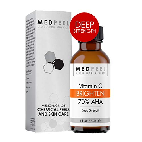 MedPeel 70% AHA & Vitamin C Brightening Chemical Peel, Deep Strength Professional & Medical Grade Chemical Face Peel at Home, Reduce Age Spots, Mild Scarring & Uneven Skin Tone all Skin Types 1oz/30ml (At Home Chemical Peel For Dark Spots)