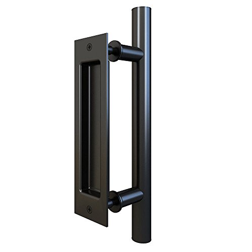Flush Flat Pulls Black (Flat Black Pull and Flush Handle Set for Sliding Barn Door Hardware)