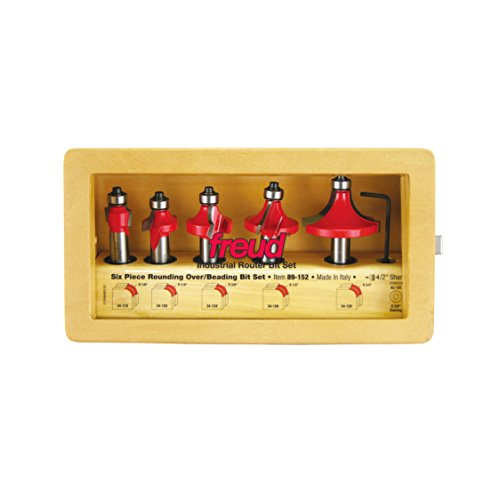 Beading Router Bit Set - Freud 5 Piece Round Over/Beading Bit Set (1/2 Shank) (89-152)
