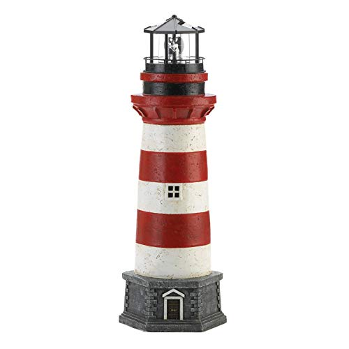 dms Quaint Seaside Nautical Red and White Lighthouse Garden Statue Figure with Solar Powered LED Light Stands 21.2 inches Tall (Statues Seaside)