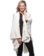 StylesILove Ruffle Trim Knit Poncho-like Shawl Wrap