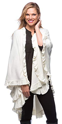 (StylesILove Ruffle Trim Knit Poncho-like Shawl Wrap - Ivory)