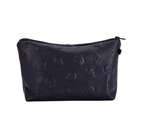 HOYOFO Stylish Makeup Pouch Portable Cosmetic Bag Purse, Black Skull ()