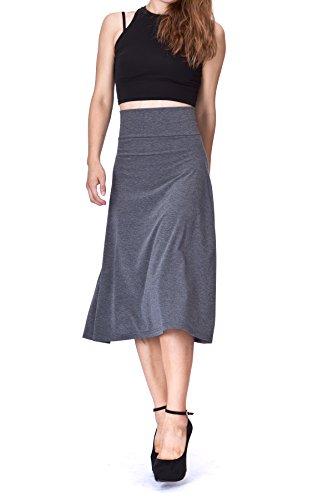 Soft Stretch Skirt - Dani's Choice swaying Foldable High Waist A-Line Full Flared Swing Skater Long Skirt (L, Charcoal)