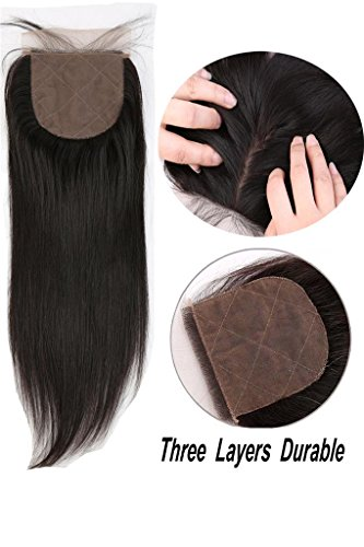 - Greatremy 4x4 Free Part Silk Base Closure with Baby Hair Straight Natural Color Virgin Human Hair Closure 16