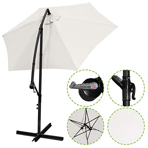 - Flex HQ 10 ft Offset Cantilever Patio Umbrella Outdoor Market Hanging Umbrellas & Crank with Cross Base Beige
