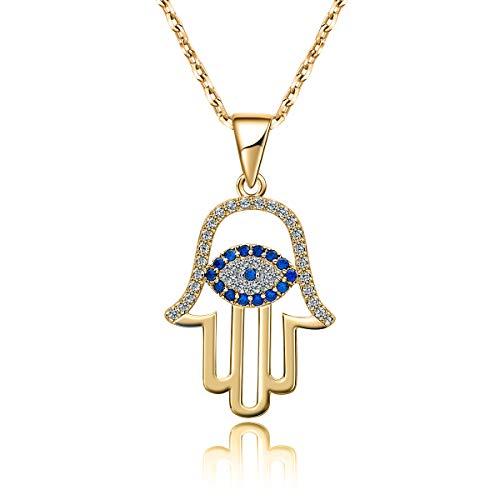 Eye Hamsa Necklace - AMOFA 925 Sterling Silver Evil Eye&Hamsa White Blue Cz Womens Pendant Necklace