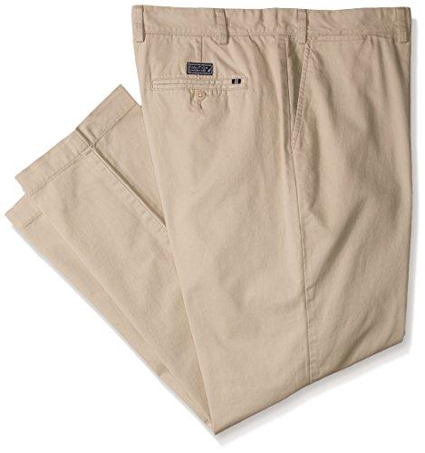Cotton Twill Flat Front Pants - Nautica Men's Big-Tall Big and Tall Cotton Twill Flat Front Pant, True Stone, 54W 32L