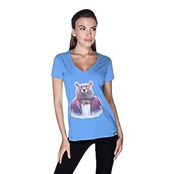 Creo Bear Pug Life V-Neck T-Shirt For Women - S, Blue