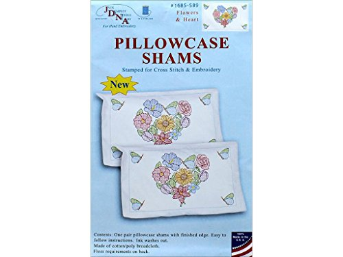 Jack Dempsey JDN1685.589 Pillowcase Sham Flowers & Hearts Pillowcase Sham Flowers&Hearts by Jack Dempsey