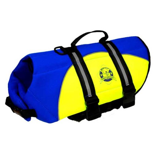 Paws Aboard Pet Life Jacket Blue/Yellow Neoprene (XSmall)