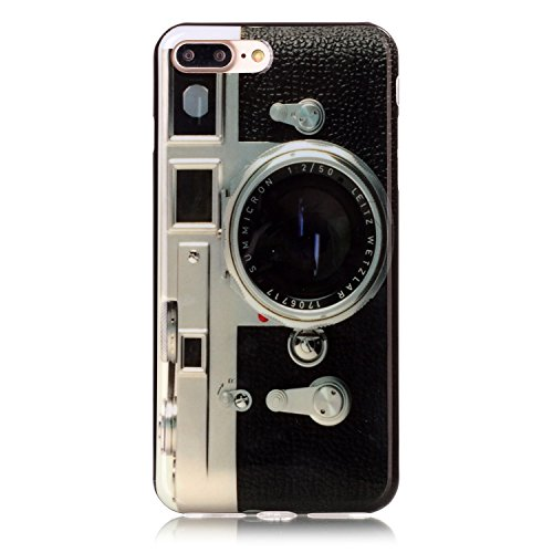 Price comparison product image Sunvy iPhone 7 Plus Case,Retro Camera [Drop Protection][Slim Fit] Soft Skin Silicone Protective Cover for 5.5 inch iPhone 7Plus with a Screen Protector