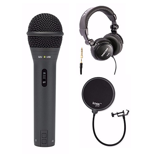 dheld Dynamic USB Microphone with Knox Pop Filter & Full Size Headphones ()