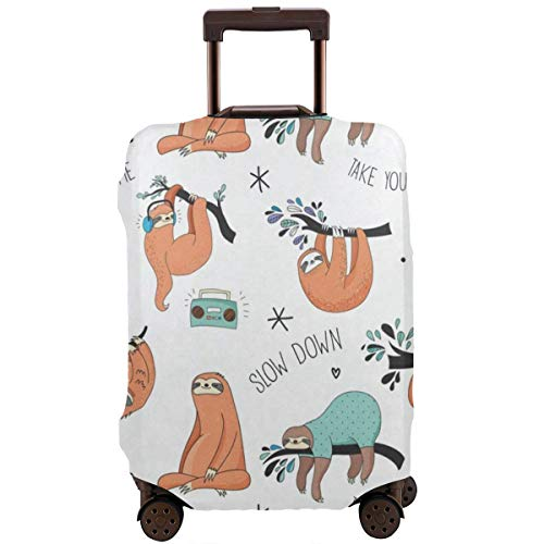 Luggage Cover Cute Sloth Listen Music Fantastic Travel Suitcase Cover Protector Bag Dustproof Washable Fits 18-32 Inch Luggage ()
