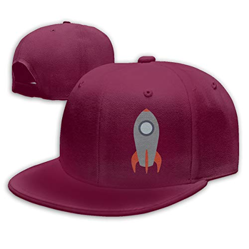 (Sakanpo Retro Rocket Ship Flat Visor Baseball Cap, Fashion Snapback Hat Dark Red)