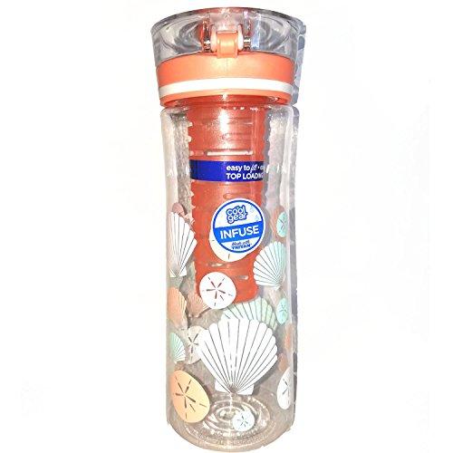 Cool Gear Ripple Infuser Water Bottle, 28 oz, Seashell Decoration