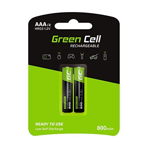 🥇 Green Cell 2X AAA 800mAh 1.2V Juego de 2 Pilas Recargables AAA Ni-MH Baja Autodescarga Precarga Alta Capacidad HR6 BK-4MCCE/8LE