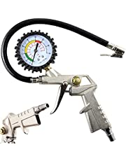 Retoo 220 psi bandenpomp met 35 cm en manometer-meetbereik 0-12 bar, slanglengte, bandenspanningsmeter, multifunctionele luchtdruktester, bandenvulmeter
