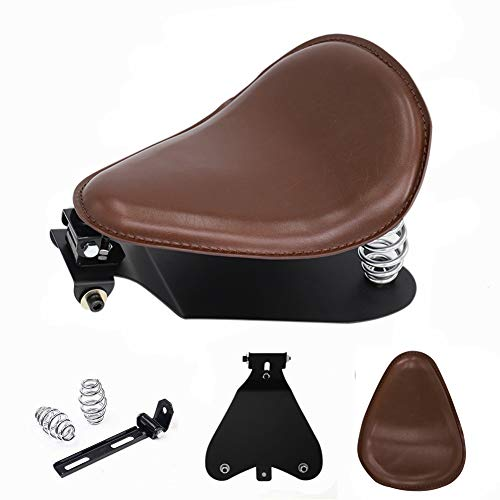 Brown Leather Solo Seat Base Plate Spring Bracket Mount Kit for Harley Bobber Chopper Custom